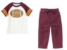 Gymboree Straight A Athletes Football SS Tee Shirt & Lined Pants Set Boys 2T NWT