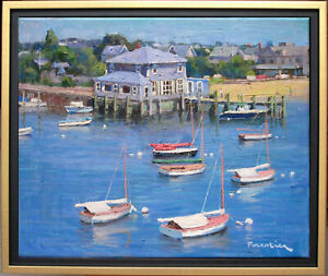 BEACH IN NANTUCKET~LISTED ARTIST~ORIGINAL OIL PAINTING BY MARC FORESTIER