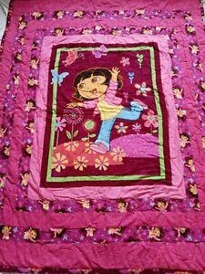 Dora The Explorer Quilt Blanket Handmade Patchwork Kids Bedding Cartoons