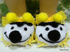 """BUMBLE BEE Yellow & Black DOLL SLIPPERS Shoes for 18"""" AMERICAN GIRL Doll Clothes"""