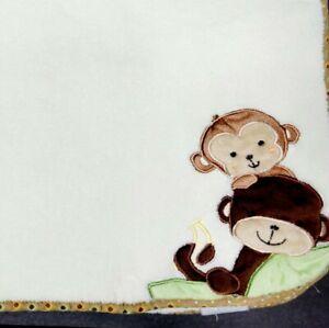Bedtime Originals Lambs & Ivy Baby Blanket Cream Ivory Monkeys Banana Plush
