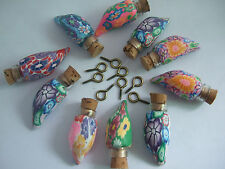 5 x Tiny Miniature Glass Bottles With Corks & Eye Hooks Mix For Jewellery Making