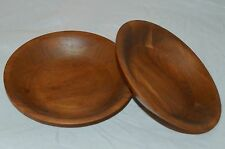 "2 Heirloom Walnut Didware Wood Bowls Wooden Made in Usa 6.75"" Round Vtg Set 1015"