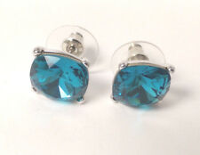 Sparkling Blue Silver Plated Stud Earrings