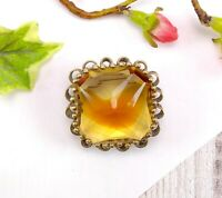 Vintage Chunky Statement Gold Tone Metal & Banded Glass Brooch - Yellow Orange