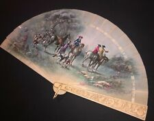 FINE ANTIQUE FRENCH DIEPPE ROSES RELIEF HAND PAINTED HUNTING SCENE BRISE FAN