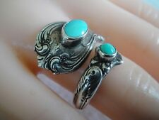 """Towle Sterling Silver Spoon Wrap Ring 2 Turquoise Stones """"Old Master 8.7 Gr Size"""