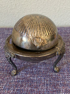 Vintage F.B. Rogers Silver Co. 273 Dome ROLL TOP CAVIAR BUTTER SERVER Lion, READ