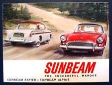 SUNBEAM ALPINE & RAPIER CAR SALES BROCHURE 1962. #850/H