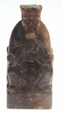 Chinese carved figurine 19th century Stone Daoism Taoism Old Man Statue