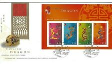 Hong Kong China 2000 Year of Dragon FDC VFU Dragon postmark souvenir sheet