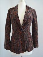 Vtg Jones New York Blazer Jacket • Black Orange Corduroy Paisley Button • Size 8