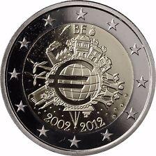 Belgien 2 Euro Münze 10 Jahre Euro Bargeld Gedenkmünze 2012 PP Polierte Platte