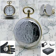 "Silver Hunter Design Pocket Watch Men Quartz with 14"" Pocket Watch Chain P96"
