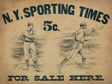 NY SPORTING TIMES BASEBALL PLAYERS HEAVY DUTY USA MADE METAL ADVERTISING SIGN