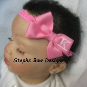 Hot Pink Monogram Dainty Hair Bow Headband Personalized FITS Preemie to Toddler