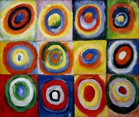 Kandinsky Squares w/ Concentric Circles Repro, Hand Painted Oil Painting 20x24in