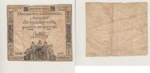 1793 France Assignat Pour 15 Sols Fort D'Occasion
