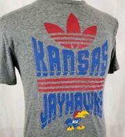 Adidas Kansas Jayhawks Tri Blend T-Shirt Small S/S Gray Trefoil  NCAA Big Jay