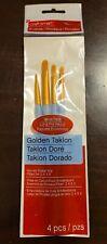 Craft Smart Golden Taklon Brushes-4 Piece Filbert Set (2, 4, 6, 8,) Rubber Grip