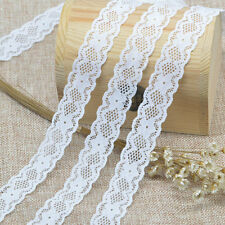 5Yards DIY White Elastic Lace Trim Decor Embroidered Flower Crafts Wide 2.2cm