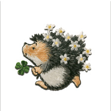 Iron on patches - Margaret Sherry Hedgehog with cloverleaf - gray - 4,6x4,8cm -