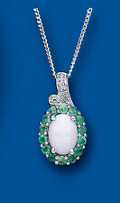 Emerald Pendant Emerald and Opal Necklace Real Diamond Solid Sterling Silver