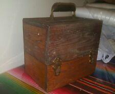 Vtg Antique Chest Box Cover Lucite Handle Primitive Folk Art Wood Tool Carpenter
