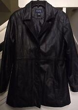 HILLARD & HANSON WOMEN'S BLACK Soft Leather Jacket Short Coat Lined Size XL 😍
