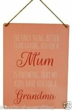 Mum & Grandma Metal Hanging Sign - 20cm x 15cm - Mothers Day Birthday Gift