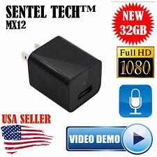 1080p USB Hidden Spy Camera AC Adapter Phone Charger DVR 32GB Surveillance FBI
