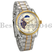 Automatic Mechanical Watch Skeleton Dial Luxury Mens Stainless Steel Wristwatch