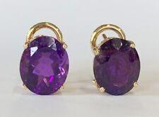"Estate Jewelry Ladies Oval Amethyst Earrings 14K Yellow Gold Omega 3/8"" Long"