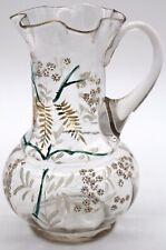 Antique Victorian Hand-Blown Clear Glass Lemonade Pitcher Hand-painted w Pontil