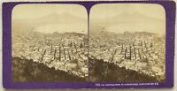 Panorama Da Napoli Italia Foto J.A.Stereo Stereoview Vintage Albumina