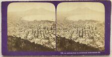 Panorama de Naples Italie Photo J. A. Stereo Stereoview Vintage Albumine