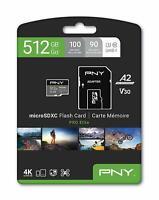PNY U3 Pro Elite MicroSD Card - 512GB - (P-SDUX512U3100PRO-GE) NEW