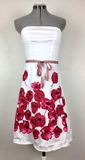 Faith ❤ Passion White Strapless Dress Floral Stretchy Juniors 9 Valentine Belted
