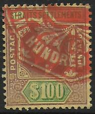 Malaya/Straits stamps 1904 SG 140 Fiscal used 100$ stamp