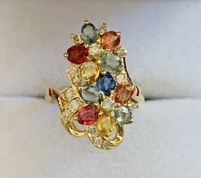 14k Solid Yellow Gold  Ring With Natural Multi Color Oval Sapphire & Diamond4.5G
