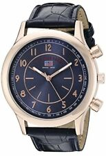 U.S. Polo Assn. Sport Mens Rose Gold-Tone Watch W/ Blue Croco-Textured Strap