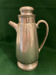 "Cocktail Shaker Crescent Pewter Antique 10 ½"" Tall"