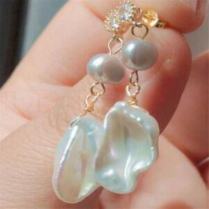 Natural Pearl gold Earrings eardrop 18K Chain girl Gift FOOL'S DAY Diy