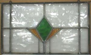 "OLD ENGLISH LEADED STAINED GLASS WINDOW Unframed w Hooks Diamond 21.5"" x 12.75"""