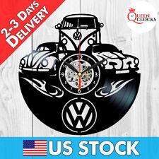 Volkswagen Retro Car Logo Vinyl Record Clock Gift Vintage VW Emblem Wall Decor