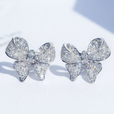 Fashion Women 925 Silver Wedding Jewelry Diamond Crystal Bow Ear Stud Earrings