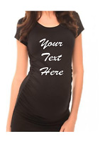 Personalised custom your text design ladies black maternity t-shirt baby shower