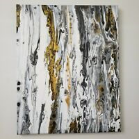 Abstract Art Acrylic Paints on Signed Stretched Canvas 16×20 Gold White & Greys