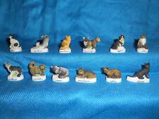 CATS Kittens KITTIES Set 12 Mini Figurines FRENCH Porcelain FEVES Figures MATTE