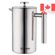 Icokee French Press Coffee Maker 34oz 1000ml Double Wall Stainless Steel 18 1...